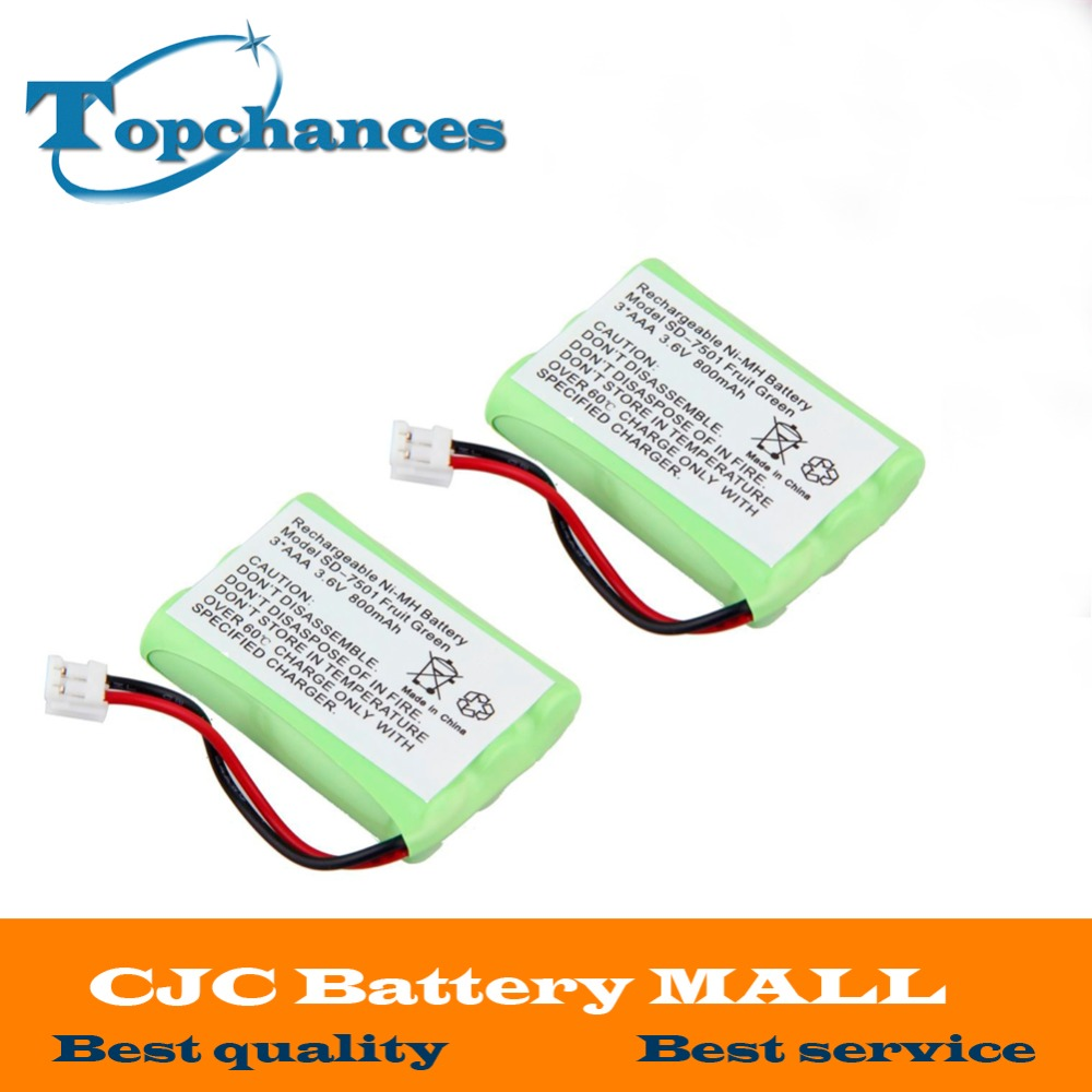 2pcs <font><b>AAA</b></font> Ni-MH 800mAh 3.6V Rechargeable Replacement Cordless Home Phone Battery for Motorola SD-7501 Battries Pack Fruit Green image