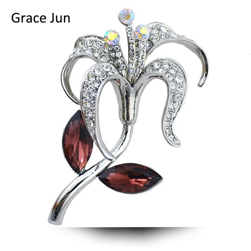 Grace Jun High Quality Vintage Rhinestone Crystal Flower Shape Brooches for Women Party Wedding Charm Hijab Lapel Pins Good Gift