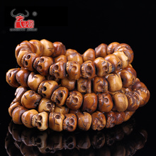 30PCS Handmade Carved Yak Bone Beads, Skull Antique Beads for Halloween Jewelry Making, Brown,11x13mm, Hole: 2mm