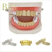 BOAKO Punk Dental Grills Bling Men Grillz Gold Hip Hop Tooth Set Rapper Teeth grillz Caps Cosplay Party Jewelry B5