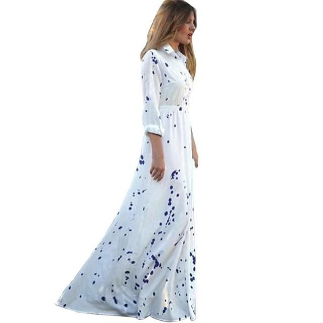 190a5e63dd9 Однобортный платье-рубашка Для женщин Лето Boho Длинные платья Элегантный  длинным рукавом шифоновое платье роковой