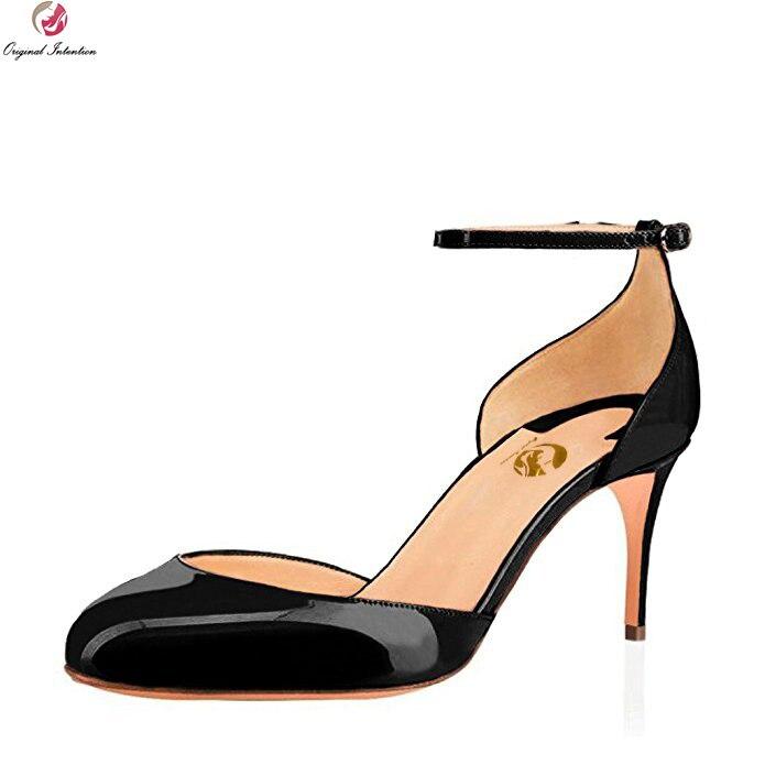 Intention originale femmes escarpins bout rond talons aiguilles escarpins Nice noir Fushcia ivoire rose nu chaussures femme grande taille américaine 4-15