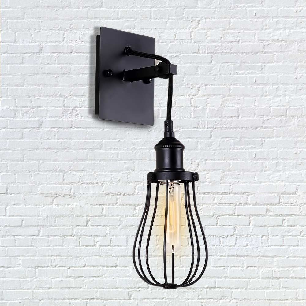 vintage loft iron cage lifting rope rope wall lamp industrial wall wall light. Black Bedroom Furniture Sets. Home Design Ideas