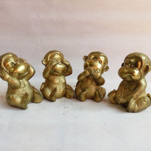 Exquisite Chinês Coleção Handcarved estátuas de Bronze Quatro Adoráveis macacos