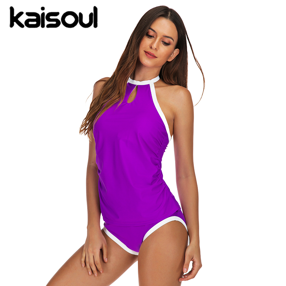 Two Pieces Swimwear Sexy Bikini Women Swimsuit Push Up Print Swimming Beachwear New Arrival Vintage Padded Purple