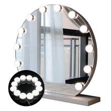 Комплект светодиодных светильников для зеркала под раковину в голливудском стиле, 10/12 светодиодный лампочек, 7000K, с регулируемой яркостью, белый, гибкий, для макияжа, столика под раковину