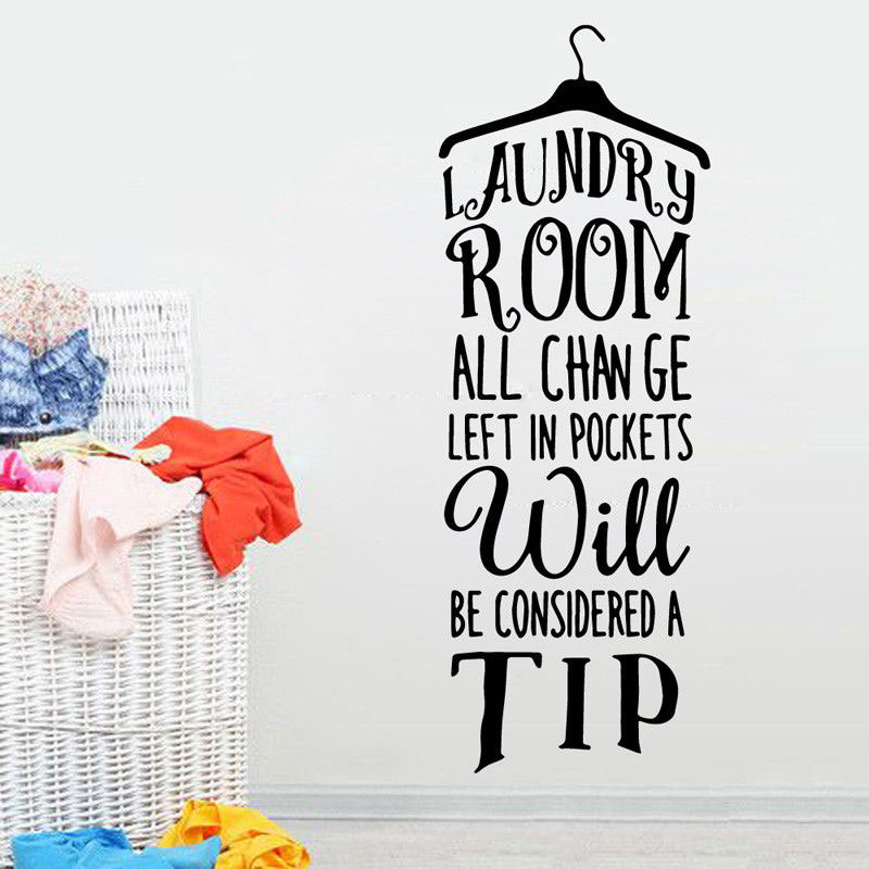 Vinyl Wall Sticker Laundry Room Clothes Rack Quote Wall Decal Girl Wash Room Vinyl Decal Home Laundry Room Art Mural Decor XY6-in Wall Stickers from Home & Garden