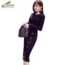 Autumn winter new women knit bottom dress long-sleeved thicken warm dress women mid-size Slim Package hip sweater dress OKXGNZ