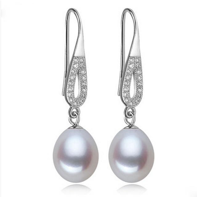 2016 Nuevo Estilo 100% Real Aretes de Perlas 8-9 MM Perlas Naturales de Ley 925 de Plata Blanco/Rosa/púrpura Para Las Mujeres Mejores Regalos