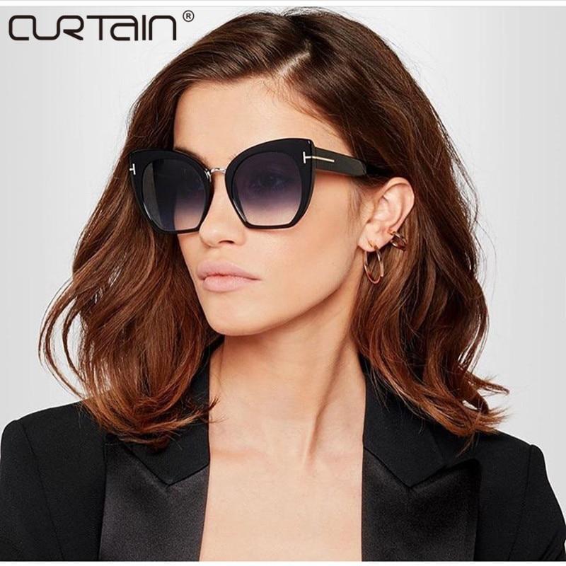 CURTAIN2019 НОВ Градиентни точки Слънчеви очила Том Висока модна дизайнерска марка за жени Слънчеви очила Cateyes oculos feminino de sol