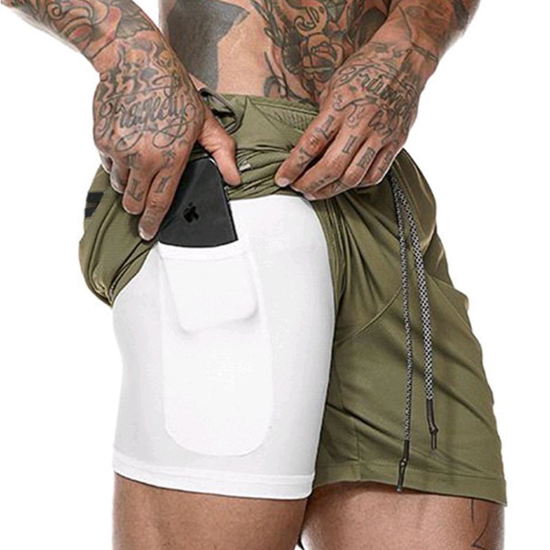 New Men's Running Shorts Mens 2 In 1 Sports Male Double-deck Quick Drying Jogging Gym  With Pocket
