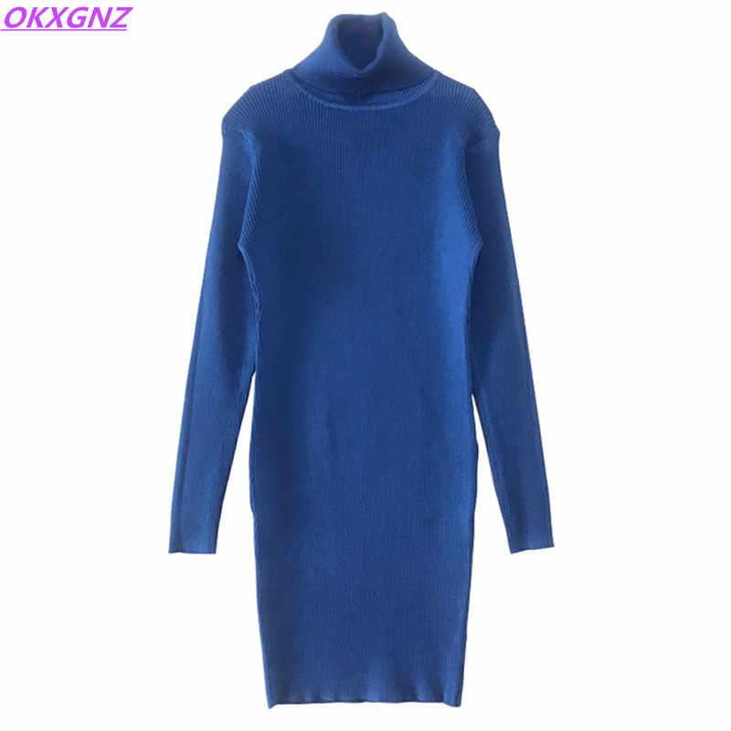 2018 여성 드레스 겨울 가을 스웨터 니트 풀오버 슬림 탄성 터틀넥 긴 소매 섹시 레이디 짧은 니트 드레스 okxgnz