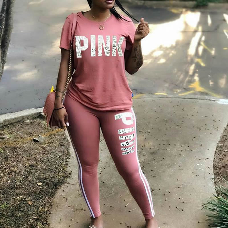 Women Two Piece Set 2019 Summer Pink Letter Print Tracksuits Plus Size T-Shirt Top And Pants Set Suits Casual Bodcon 2 Piece Set title=