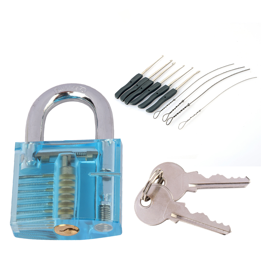New Transparent Visible Pick Cutaway Practice Padlock Lock With Broken Key Removing Hooks Lock Extractor Set Locksmith Tool