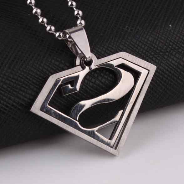 free shipping Super man dual-use pendant necklaces bead chain for men 316L Stainless Steel necklace