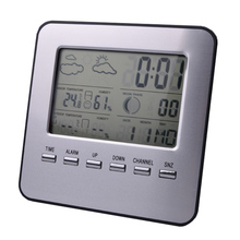 Sale Wireless digital weather station, clock, multi function electronic indoor and outdoor temperature and humidity, free shipping