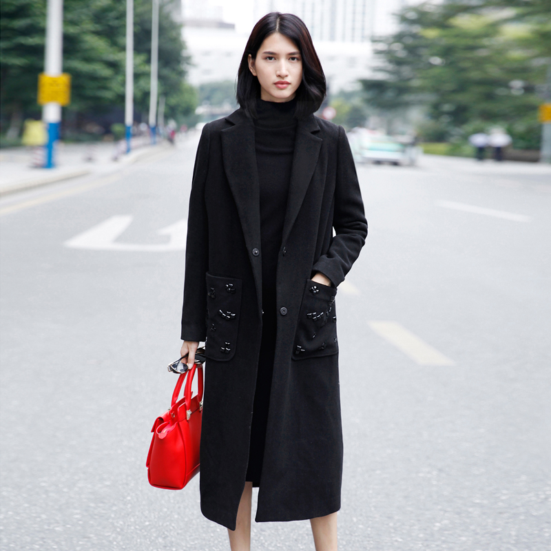 Amii Casual Women Woolen Coat 2018 Winter Solid Beading Covered Button Long Female Wool Blends