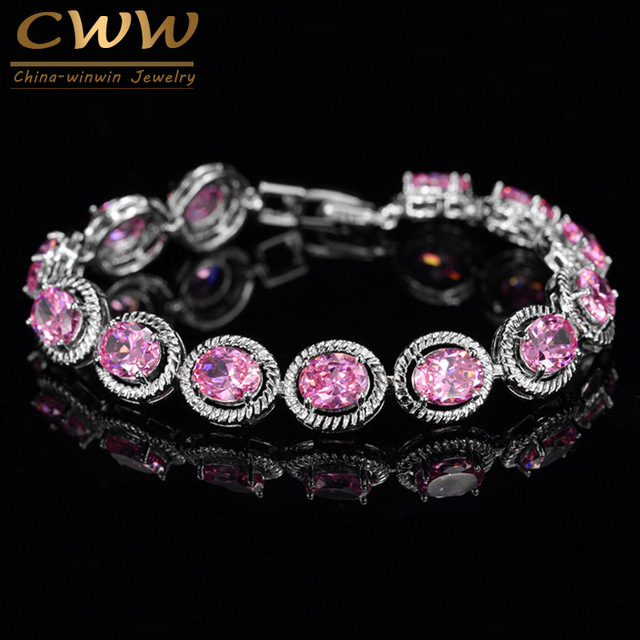 Cwwzircons Brand New Trendy Design 0 8ct Round Cut Pink Cubic Zirconia Bracelet For Women Birthday
