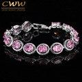 Novo Design Na Moda Prata Plated 0.8ct Corte Redondo Rosa Cubic Zirconia Simulado Bracelete de Diamantes Para As Mulheres Presente de Aniversário CB178