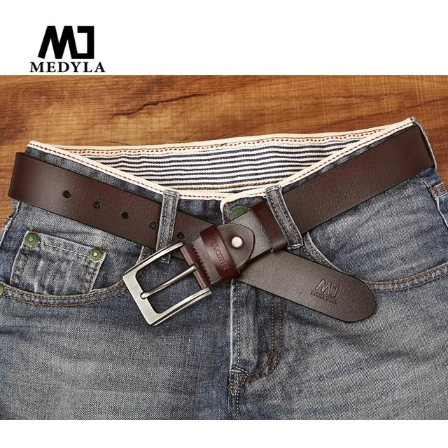 MEDYLA man belts Brand Designer Belts Men High Quality Cow Genuine Leather  Men Belt Pin Buckle Mens Belts Luxury Strap 60f81fc0d5