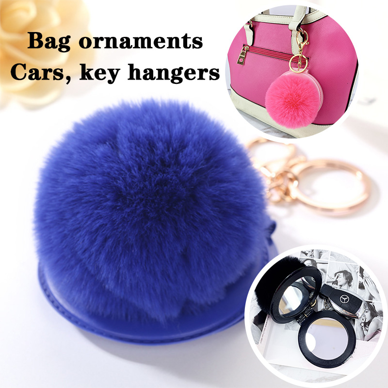 1Pcs 12 Color Cute Puff Ball There Mirror KeyChains KeyChains Kids Women Rings Android KeyChains Car Bag Santa Claus Key Chain in Key Chains from Jewelry Accessories