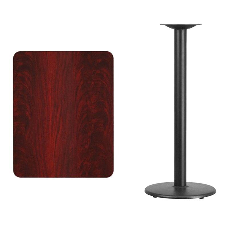 Flash Furniture 24'' x 30'' Rectangular Mahogany Laminate Table Top with 18'' Round Bar Height Table Base winsome cora pub table bar height round faux marble top black base