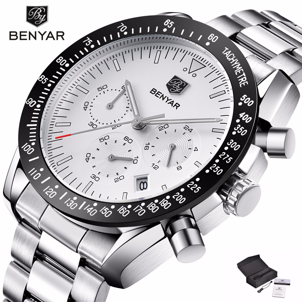 BENYAR Big Dial Sport Watch Men Stainless Steel Quartz Wristwatch Waterproof Mens Watches Top Brand Luxury Chronograph kol saati все цены