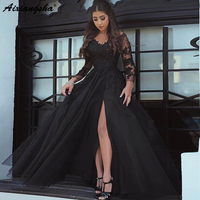 2018 New Design Lace Appliques Illusion Slit Evening Dress Open Back Formal Party Gown Long Sleeve Prom Dresses