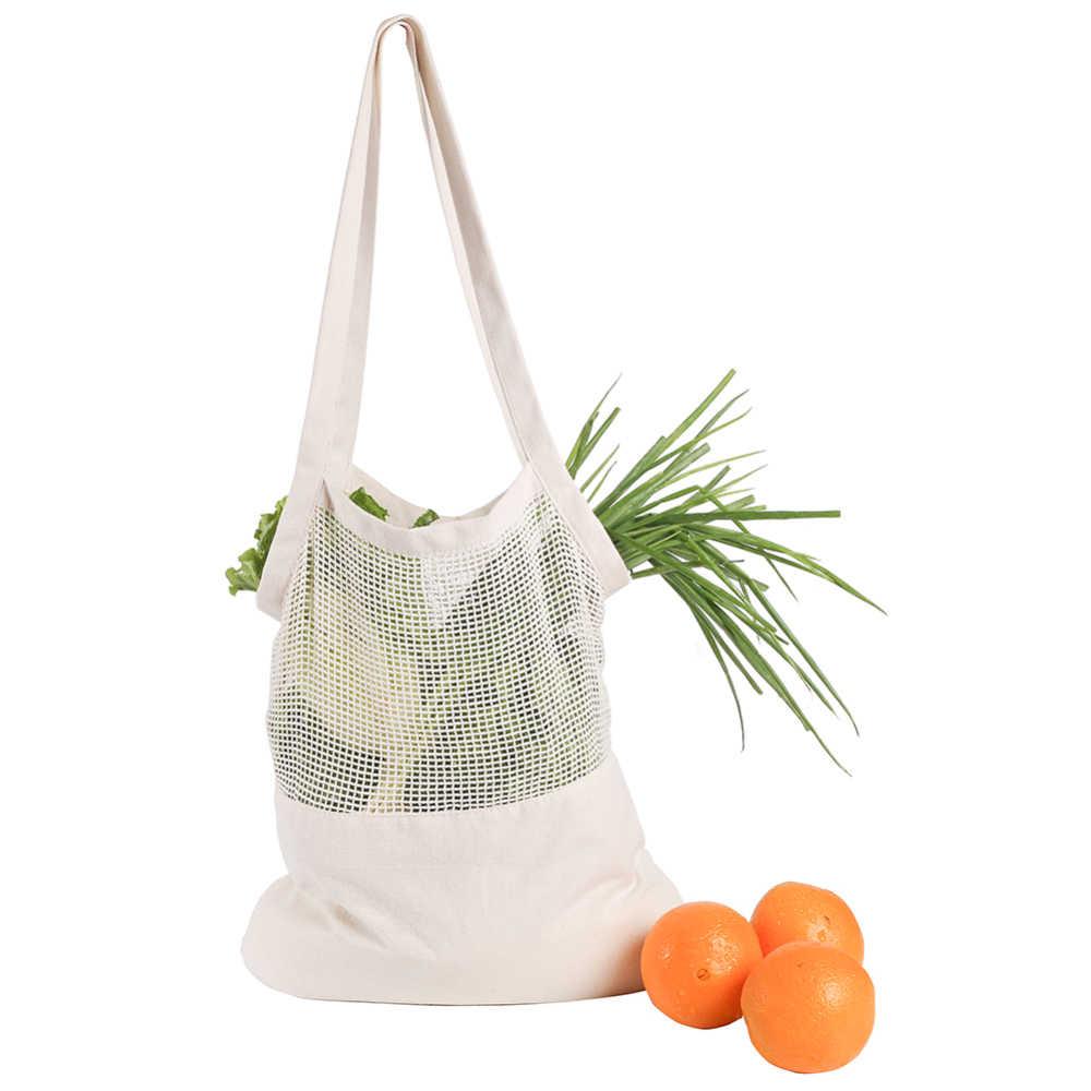 Portable Cotton Net Shopping Tote Reusable String Bag Organizer Beach Toy Storage cotton mesh bag for Grocery Shopping bags