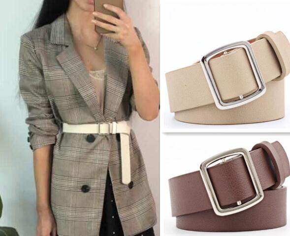 New Women Fashion Circle Buckle PU Leather   Belt   Women Chic Pure Color Faux Leather   Belts