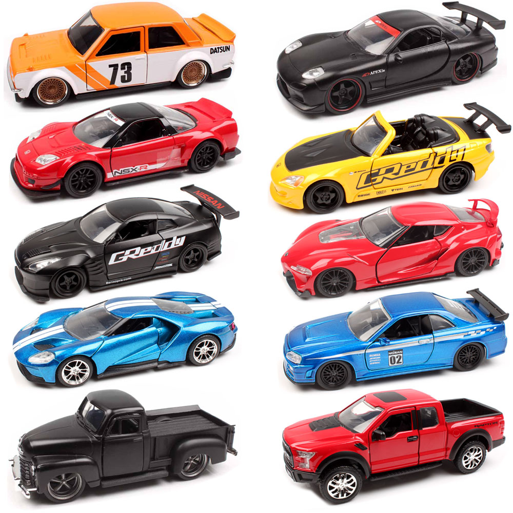 Scale Jada Jdm Tuners Ford Gt Datsun  Chevy Pickup Honda Nsx Mazda Rx  Nissan Skyline Gt R Rcast Racing Model Toy