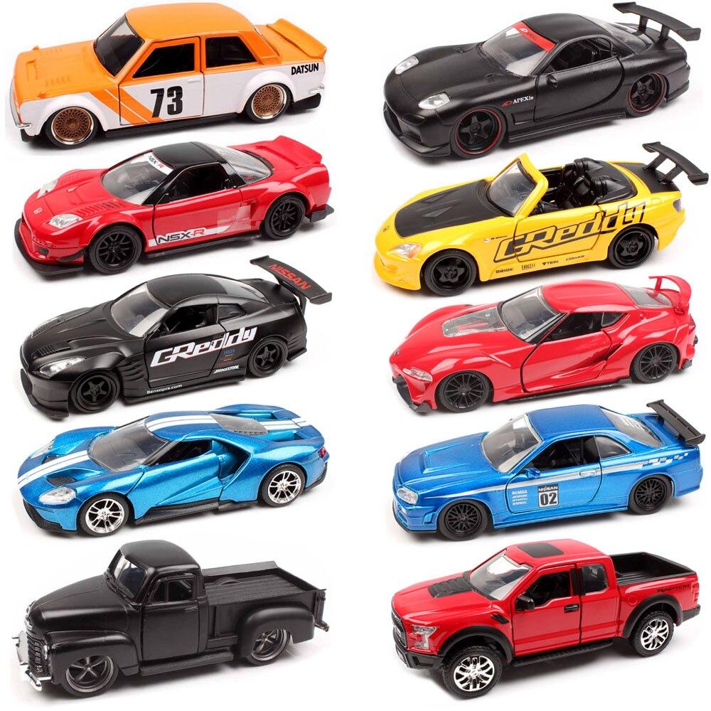 1:32 escala Jada JDM sintonizadores Ford GT Datsun 510 Chevy camioneta Honda NSX Mazda RX-7 NISSAN Skyline GT-R R35 fundición modelo de carreras de juguete