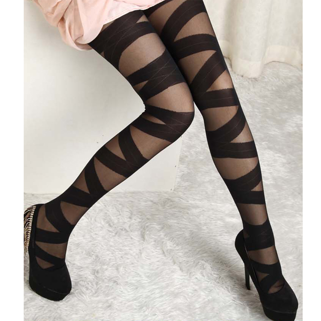 Hot Sale Wholesale Ripped Cut-out Bandage Black Legging Woman Lady Leggings Trousers Sexy Striped Pants