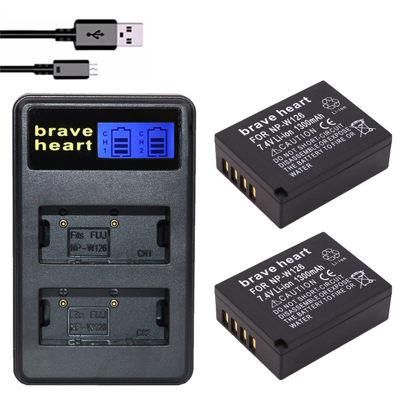 2x 1300mah Np W126 Np W126 Npw126 Batteries Amp Dual Usb