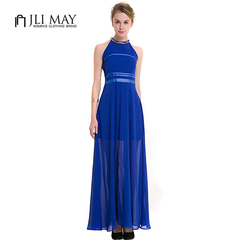 US $22.22 33% OFF|JLI MAY Chiffon party Halter maxi dress Navy blue Elegant  evening sleeveless see through women plus size summer long dresses-in ...
