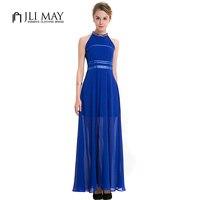 JLI MAY Chiffon party Halter maxi dress Navy blue Elegant evening sleeveless see through women plus size summer long dresses