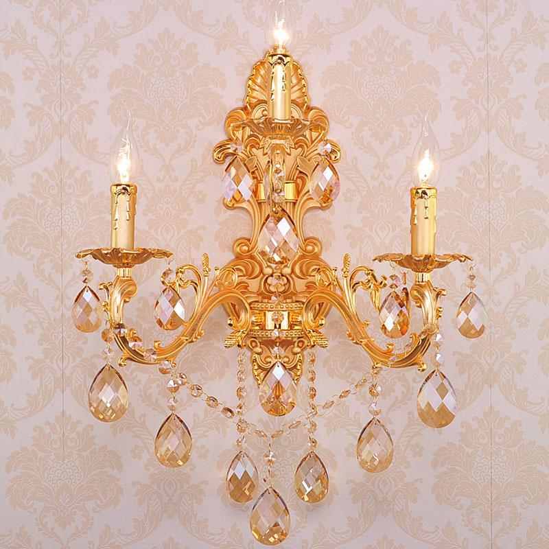Crystal Torch Bedroom Wall Lamp Bathroom Mirror Front Wall: 3 Lights Home Led Gold Champagne Crystal Wall Light Dining