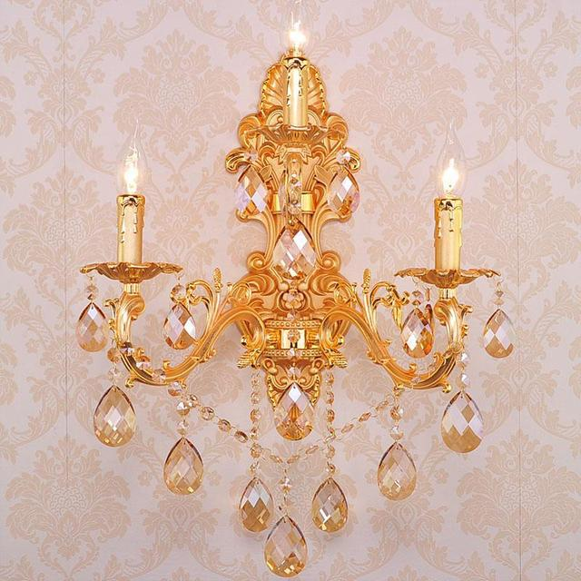 3 lights home Led Gold champagne crystal wall light dining large metal wall lamp sconce bedroom bathroom retro led mirror lampen