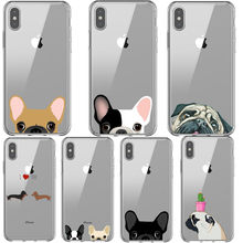 Sampul Belakang TPU untuk iPhone X XR X MAX 8 7 6 S 6 S Pug Dog Bahasa Perancis Bulldog Silikon soft Case untuk iPhone 8 7 6 S 6 S Plus Phone Case(China)