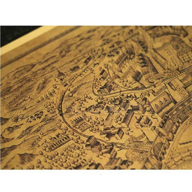 1 pc 72*26cm Filme Quente Harri Oleiro Harri Potter Magia Mapa Do Mundo Mapa do Tesouro Dos Desenhos Animados Toy Jouet retro Pintura Decorativa de Brinquedo