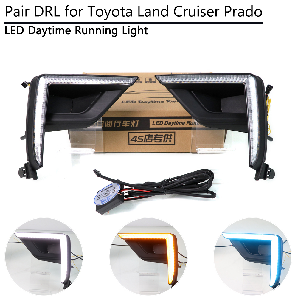 3 Colors LED DRL Lamp for Toyota Land Cruiser Prado 2018 2019 Daytime Running Light with Yellow Dynamic Turn Signal Day Light