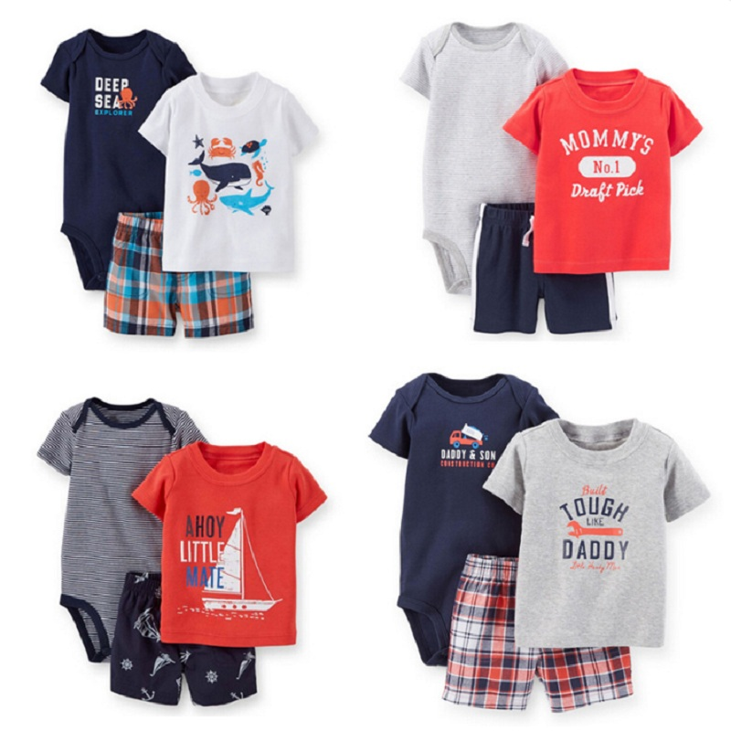 Summer Baby Boys Clothes Sets Newborn Bodysuit Pant 3-pcs Suit Bebe Boy Clothing Infant T-Shirt Shorts Suit Cotton Jumpsuit Tops