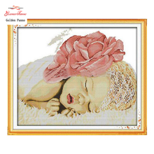 Golden Panno,Sleeping Angel Baby Patterns Counted Cross Stitch 11CT 14CT Sets Chinese Cross-stitch Kits Embroidery 0123