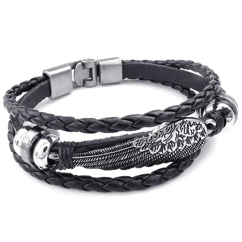 Retro metal buckle bracelet Jewelry Bracelet Wing Angel Braid Cuff Leather Alloy Fancy for Man and Woman Hand Chain Color Blac