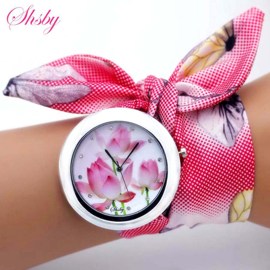 Shsby New Unique Ladies Flower Cloth Wristwatch Fashion Women Dress Watch High Quality Fabric Watch Sweet Girls Bracelet Watch