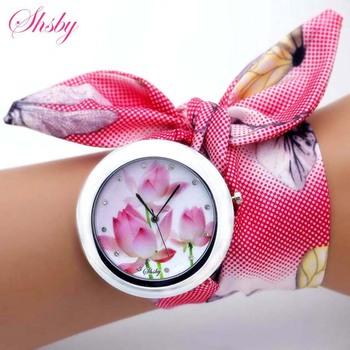 shsby nowy unikalne kobiety kwiat moda zegarek damskie zegarek sukienka wysokiej jakości tkanina zegarek słodki zegarek tanie i dobre opinie Quartz Brak Stopu Okrągłe No waterproof Szklane 60cm Tkaniny 45mm Fashion Casual Quartz Wristwatches