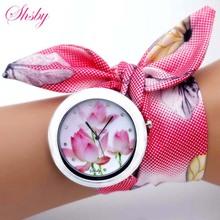 shsby nowy unikalne kobiety kwiat moda zegarek damskie zegarek sukienka wysokiej jakości tkanina zegarek słodki zegarek tanie tanio Quartz Brak Stopu Okrągłe No waterproof Szklane 60cm Tkaniny 45mm Fashion Casual Quartz Wristwatches