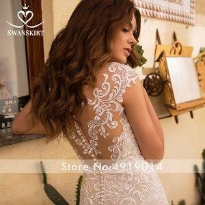 Image 4 - Odpinany pociąg suknia ślubna 2020 Sexy 2 w 1 syrenka Swanskirt aplikacje koronki kryształowy pas suknia ślubna vestido de noiva LZ07