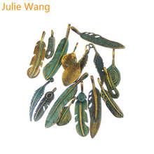 """Julie Wang случайное 14 шт Украшение """"перо"""" цвета антикварной бронзы Подвеска из металлического сплава набор-тройка подвеска-браслет-ожерелье ювелирных изделий изготовление аксессуаров"""