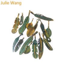 Julie Wang Random 14pcs Antique Bronze Feather Metal Alloy Pendant Charms Necklace Bracelet Jewelry Findings Making Accessories